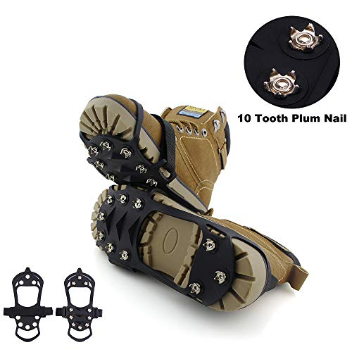 ENJOY OUTDOOR Ice Cleat Crampons and Tread,Cleats for Walking, or Hiking on Snow and Ice,Cleat Over Shoe/Boot Anti Slip 10 Steel Studs Slip-on Stretch Footwear (Large (US Women:7.5-10.5/ Men:7-9))
