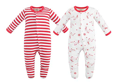 Owlivia Unisex-Baby Organic Button Cotton Sleep N Play Pajamas, 2 Pack Long Sleeve Footed Overall, Boys Girls