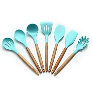 Light Green Silicone Kitchen Utensil Set Cooking Utensils -7 Pieces Natural Wooden Handles Cooking Tools for Nonstick Cookware,Spatula Spoon Kitchen Gadgets Utensil Set,Patcus