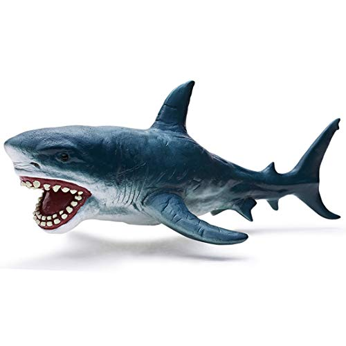 RECUR Toys Great White Shark Figure Toys Megalodon Shark, Hand-Painted Skin Texture Shark Figurine Collection 10.2inch - Replica 1:20 Scale Realistic Ocean Shark Replica, Ideal for Collectors, Ages 3+