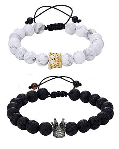 Couple Bracelets Distance Bracelets YinYang Labrador White and Black Agate Gemstone for lovers (2pcs) (adjustable)