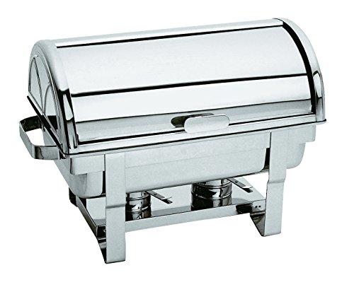 Pentole Agnelli Buffet Roll Half Top Chafing Dish, Dimension 64 x 35 x 40 cm, Silver