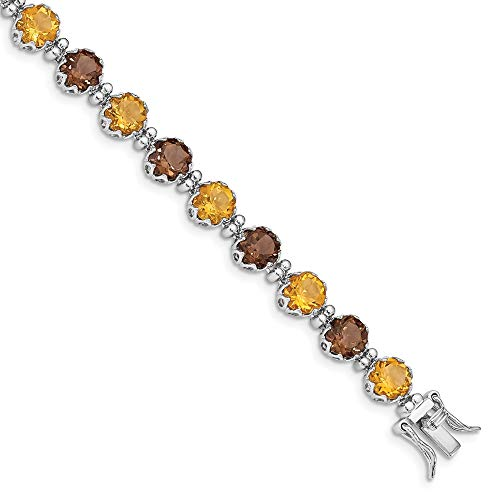 925 Sterling Silver Smoky Quartz Yellow Citrine Bracelet 7.5 Inch Gemstone Fine Jewelry Gifts For Women For Her
