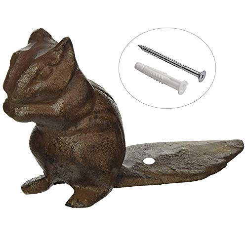 Cast Iron Decorative Squirrel Door Stop – Heavy Duty Metal Door Stopper that can be secured to the Floor – Vintage, Rustic Brown Chipmunk – Screw and Anchor ()