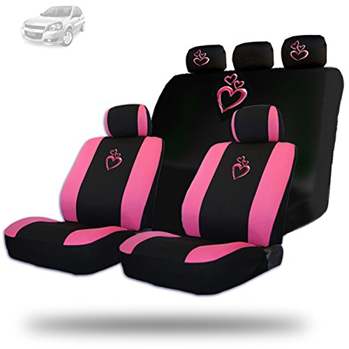 New Design 2 Tone Large Pink Heart Car Truck Front Rear Seat Covers Gift Full Set