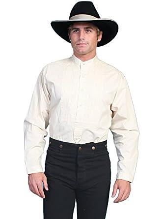 Victorian Men's Shirts- Wingtip, Gambler, Bib, Collarless Old West Gambler Shirt Big And Tall  AT vintagedancer.com