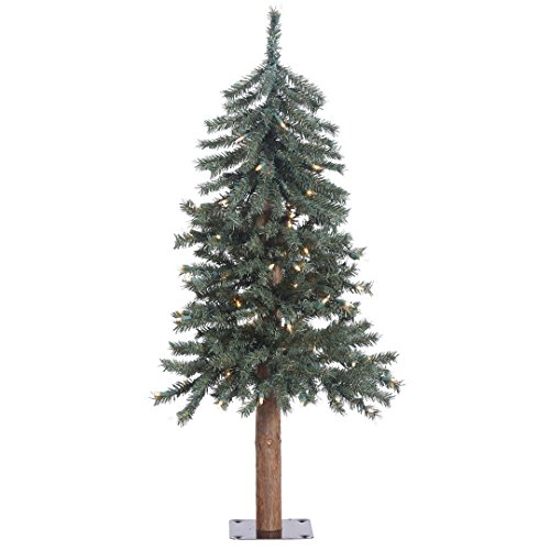 Vickerman Natural Bark Alpine Tree with 191 PVC Tips & 70 Dura-Lit Italian LED Mini Lights, 3' x 22.5
