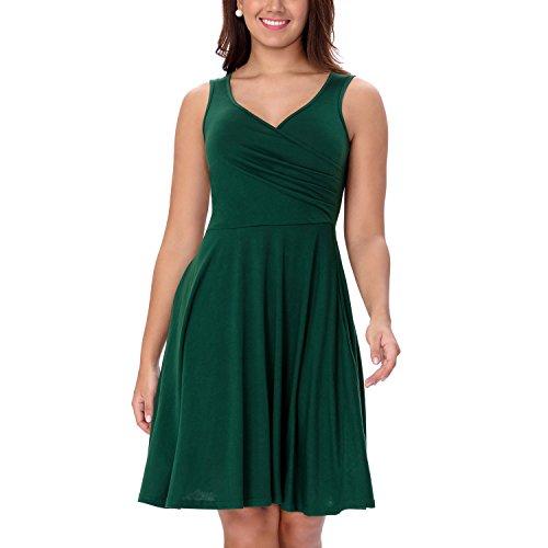 One Sight Women's V Neck Sleeveless Dress Casual Swing Midi Dress, Dark Green, - Sight One