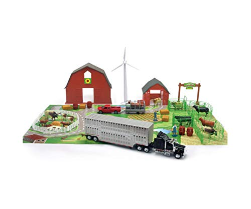 - NewRay Cattle Ranch Country Life Barn Set + Kenworth W900 Semi Truck Trailer