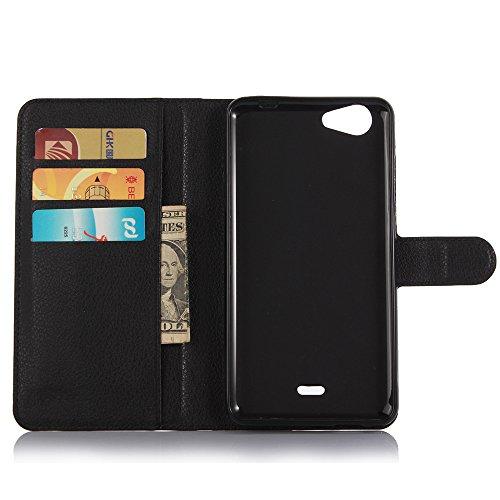 Funda Wiko slide 2,Manyip Caja del teléfono del cuero,Protector de Pantalla de Slim Case Estilo Billetera con Ranuras para Tarjetas, Soporte Plegable, Cierre Magnético(JFC11-7) B