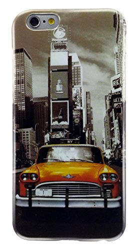 Apple iPhone 6 and iPhone 6s 4.7 inches Flexible TPU Case Impact Absorb Protection Cover Easy Install Snap On Off Perfect Fit Slim Lightweight New York City Times Square Vintage Car