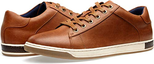 VOSTEY Men's Sneakers Fashion Brown Casual Shoes Dress Sneaker Oxford Shoes(10,Yellow Brown)