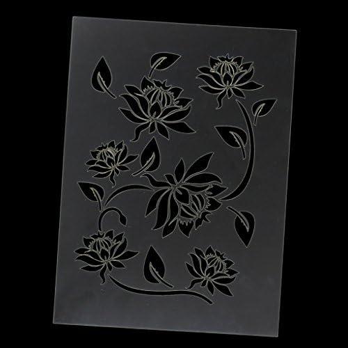 Art /& artisanat pochoir peinture murs TISSUS /& MEUBLES semi transparent pochoir Fleur De Lotus Pochoir R/éutilisable D/écoration murale dint/érieur XS// 11X16.5CM