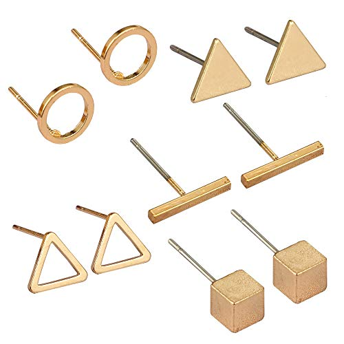 Bar Stud Earrings Geometric Round Triangle Dot Liner Ear Cuff Pin Earrings Cute Women Girls Fashion Simple Piercing Wedding Bridal Tribal Charms Jewelry 5 Pairs Golden Tone ()