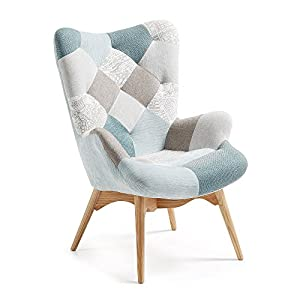 LF – Fauteuil Knut patchwork ton bleu