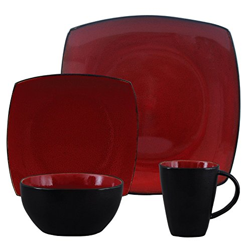 Square Dinnerware Service for 8 32-Piece And 4 16-Piece, Plates Bowls Mugs (32-Piece Set, Modern Red & Black)