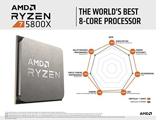 AMD Ryzen 7 5800X 8-core, 16-Thread Unlocked Desktop Processor Without Cooler Black, XX-Large