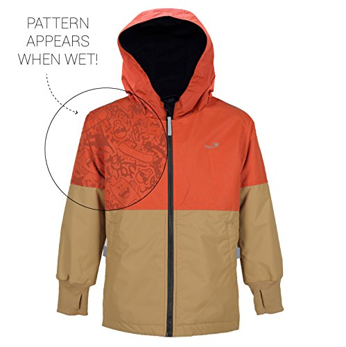 Therm Wind and Waterproof Lightweight Rain Jacket with Magic Print (6, BURNT ORANGE)