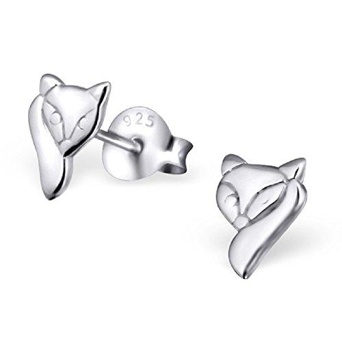 Laimons - Boucles d'oreille renard - enfant - argent sterling 925 - finition brillante