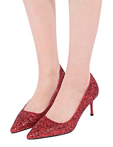 Rouge Paillettes Stiletto Escarpins De Pointu Escarpins Robe Femme Mariage Bling BIGTREE Pour x7XwfqWYP