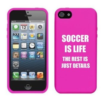 Apple iPhone 4 4s Silicone Soft Rubber Skin Case Cover Soccer Is Life (Hot Pink) (Skin Soccer Life)