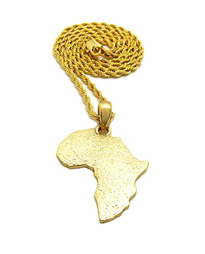 (Fashion 21 Unisex Rough Texture Africa Map Shape Pendant 18