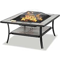 Centurion Supports SHANGO Black Premium Multi-Fonctionnel avec Carreaux de céramique en Plein air Jardin & Patio Place Heater Fire Pit Brazier et Table d'extérieur