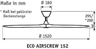 Casafan Ventilador de Techo Eco AIRSCREW 315251 152cm Motor Blanco ...