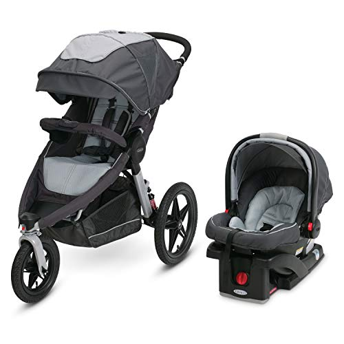 Graco Relay Click Connect Jogging Stroller Travel System, Glacier 2015 (Graco Fastaction Infant Car Seat)