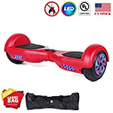Felimoda Hoverboard UL 2272 Certified Flash Wheel 6.5'' with LED Light Self Balancing Wheel Electric Scooter (Red)