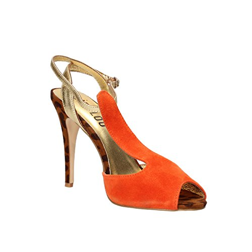 BIBI LOU sandali donna 38 EU arancione camoscio oro pelle AF372
