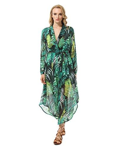 GAMISS Mujer Vestido Largo Playa Fiesta Casual Mangas Largas Estampado FloralVerde S-XL Verde