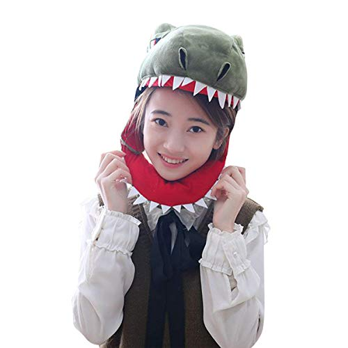 HYYER Plush T-Rex Dinosaur Head Cover Mask Headgear Hood Hat Caps Animal Halloween Novelty Party Dress up Cosplay