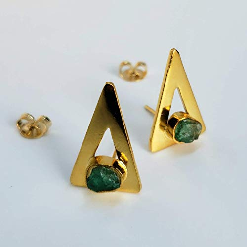 Raw Stones Stud Earrings by D'Mundo Accesorios Genuine Raw Colombian Emeralds. Geometric Jewelry. Handmade Yellow Gold Plated Triangles Earrings. ()