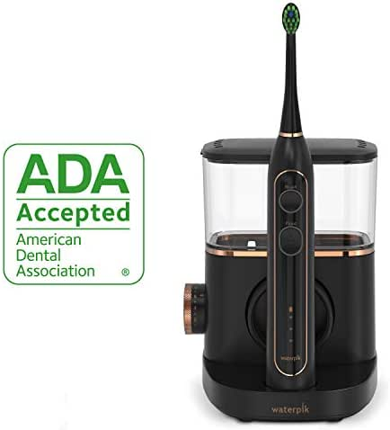 Waterpik Electric Toothbrush & Water Flosser Combo in One – Sonic-Fusion Professional Flossing Toothbrush, SF-02 Black