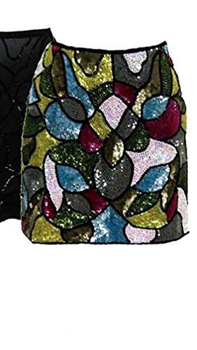 Single Dress By Galina Sobolev Silk Beaded Sequin Mini Disco Skirt in Multi (M)