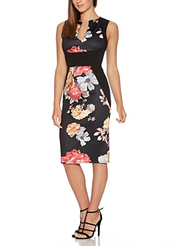 Fantaist-Womens-Sleeveless-Deep-V-Neck-Floral-Print-Cocktail-Party-Pencil-Dress