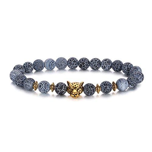 J.Fée Black Frosted Agate Leopard Lion Lava Rock Stone Bead Bracelet for...