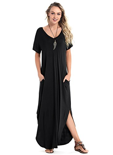 Women's Short Sleeve V Neck Pocket Casual Side Split Beach Long Maxi Dress (Black, XX-Large)