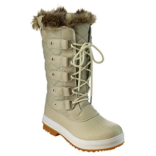 Natura Brezza Frost-03 Donna Allacciata Stivali Da Neve Invernali Trapuntati A Metà Polpaccio Bianchi