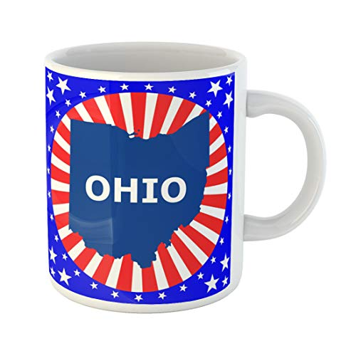 Emvency Funny Coffee Mug Blue Shape Map of the U State Ohio Abstract America 11 Oz Ceramic Coffee Mug Tea Cup Best Gift Or Souvenir