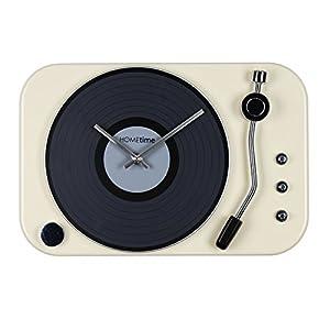 Large Funky Retro Cream Metal Record Player Case Quartz