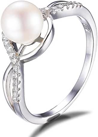 JewelryPalace White 7mm AAA Quality Freshwater Cultured Pearl Ring Infinity Style 925 Sterling Silver