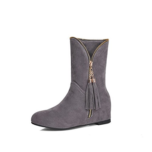 AmoonyFashion Womens Imitated Suede Low-Top Solid Zipper Low-Heels Boots Gray uWkHP