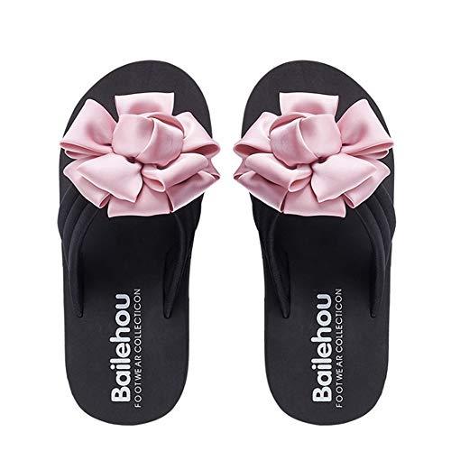 Wangcui Plage dérapant D'été Femmes Noir Taille EU Rose Fleur De Tongs Léger Couleur Anti Chaussures 40 BBrqzw0C