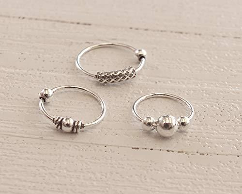 Set Three Sterling Silver Hoops, 10mm 8mm Bali Hoops, 10mm Hoop Earrings, 8mm Nose Ring, Helix, Cartilage