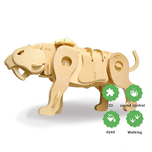 (Eggschale DIY Wooden Robot Tiger Toy 3D Puzzle Wood Craft Kit Educational Toys Saber-Toothed Tiger Sound Control Robot Model Best Gift for Kids Teens)