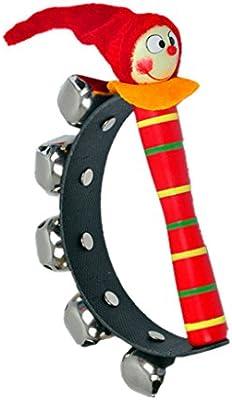 Gazechimp Greiflinge Handrassel Aus Holz und Metall Clown Griff Tamburin f/ür Kinder Spielzeug