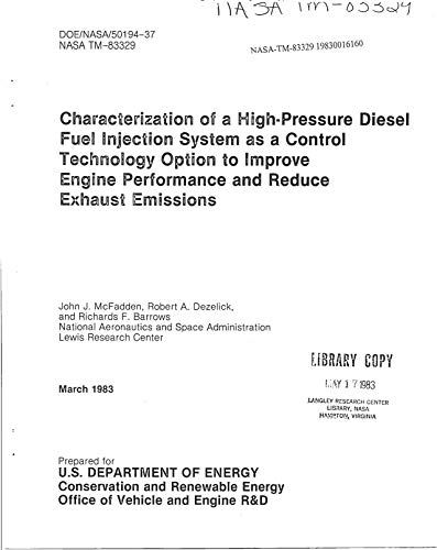 Characterization of a high-pressure diesel fuel injection system as a control technology option to improve engine performance and reduce exhaust emissions ()