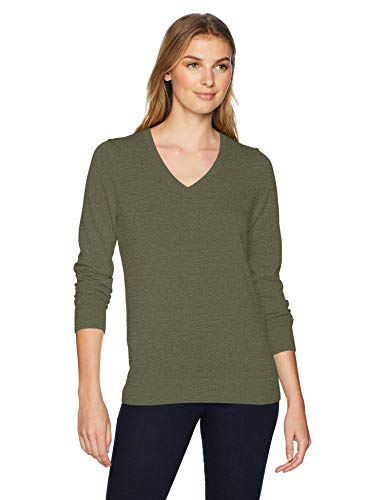 Amazon Essentials Women's Lightweight V-Neck Sweater, Olive, Large ()